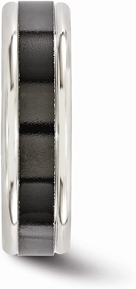 Bridal Wedding Bands Decorative Bands Edward Mirell Titanium Black Ti Grey Edges 6.5mm Band Size 8.5