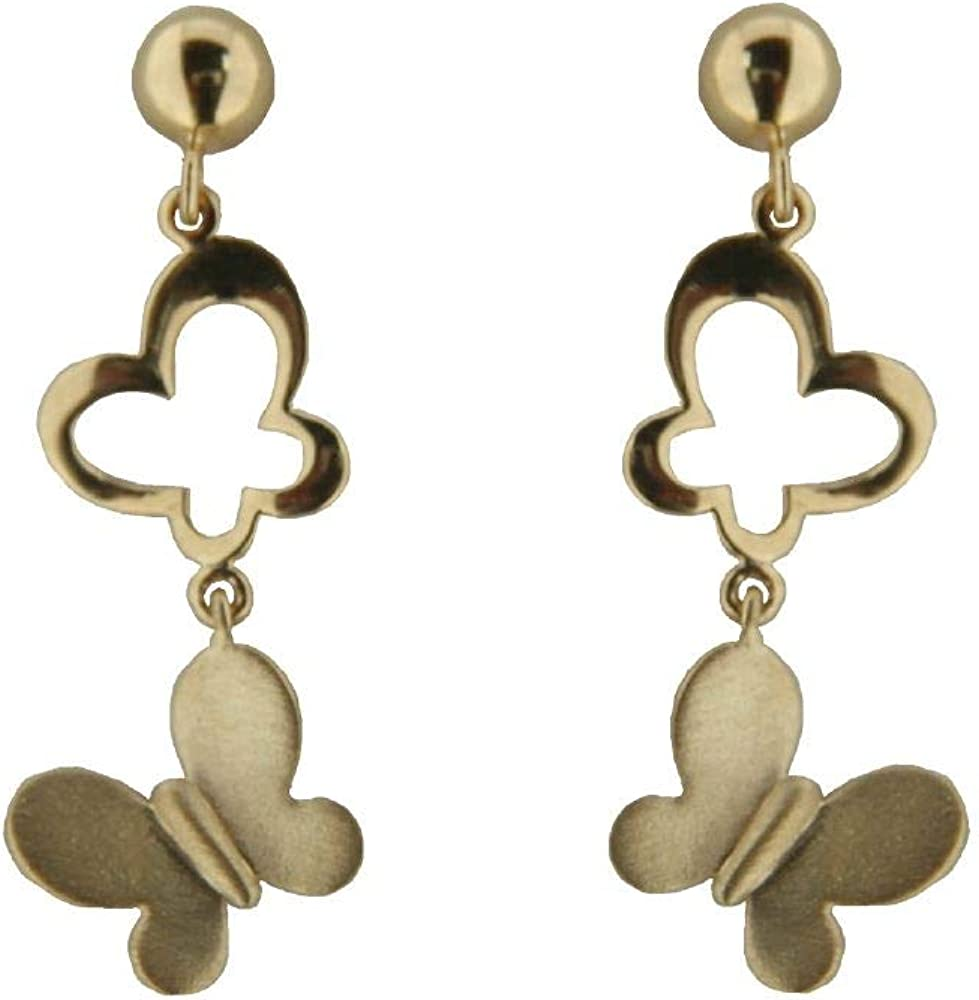 Amalia 18K Yellow Gold Polished Open Butterfly and Satin Butterfly Dangle Earrings