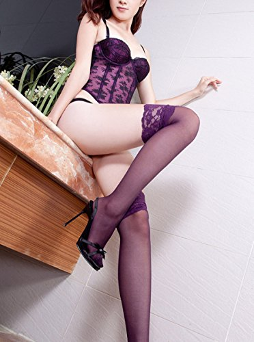 Toptim-Womens-Lace-Top-Sheer-Thigh-High-Stockings-3-Pairs-Black-Red-Purple-One-Size