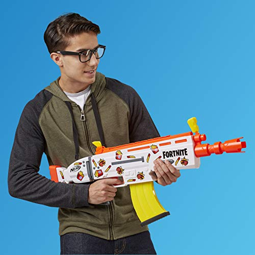 51wLcGcgT0L - NERF Fortnite AR-Durrr Burger Motorized Blaster -- Customizing Stickers, 20 Darts, 10-Dart Clip -- for Youth, Teens, Adults (Amazon Exclusive)