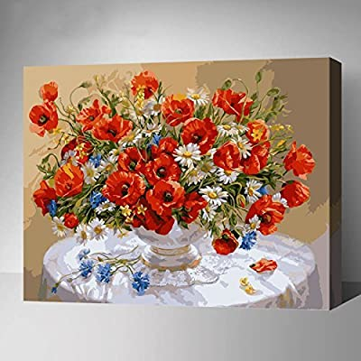 MADE4U Paint By Numbers Kits Canvas Mounted on Wood Frame with Brushes and Paints for Adults Children Seniors Junior DIY Beginner Level Acrylics Painting Kits on Canvas (Flowers 8809) by MADE4U