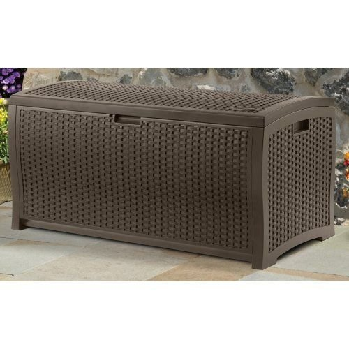 Suncast DBW9200 Mocha Wicker Resin Deck Box, 99-Gallon (Patio Storage Chest compare prices)