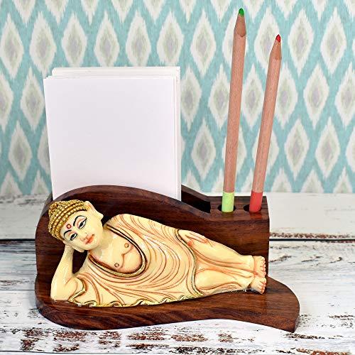 "JAIPURCRAFT Sleeping Buddha Figure Desktop Card/Pencil Organizer, Pen Holder & Desk Organizer Decoration,Luxury Gift and Exquisite Handicraft Divinity on your desk (4"" Tall)"