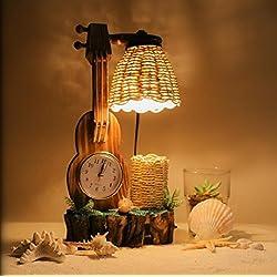 Weaving Guitar Table Lamp Bedroom Living Room Bedside Lamp Retro Style Clock Creative Decorative Lights , b