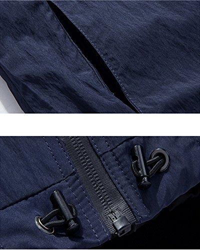 Lunga Solido Baseball Cappotto Manica Casual collare Uomo Blu Colore Slim Fit T8Upxn5w