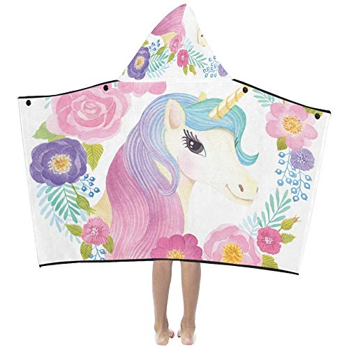 Flower Decorated Unicorn Soft Warm Cotton Blended Kids Dress Up Hooded Wearable Blanket Bath Towels Throw Wrap for Toddlers Child Girls Boys Size Home Travel Picnic Sleep Gifts Beach]()
