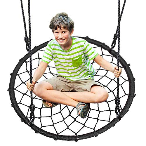 Outdoor Spinner Saucer Tree Swing - Hanging Tree Round Net Circular Flying Saucer in Rope Straps w/Cushion Padded Metal Frame, Webbed Seat, Great for Kids, Adult - SereneLife SLSWNG200 (Toys Outdoor Rope)