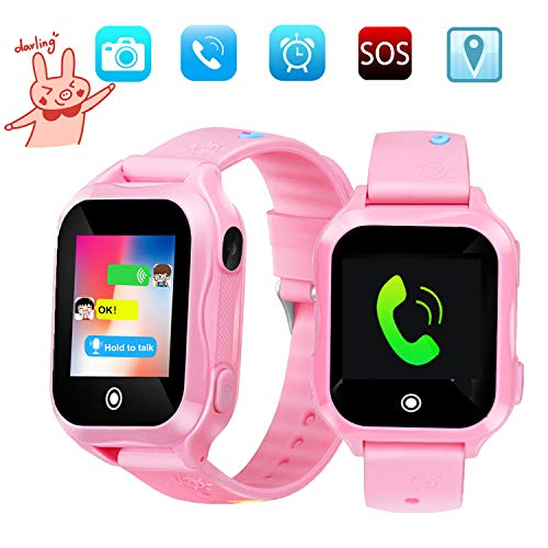 Kids smartwatch, IP67waterproof Smart Watch for Children Kids Phone Watch, GPS Smart Watch is fit for 3-14 Ages Girls Boy,Smart Watches1.44inch Touch Screen Camera SOS WiFi wacthes(Blue)
