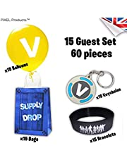 Battle Gamer Loot Party Bag with 3 Favours (Wristband, Keyring & Balloon) Birthday Party Supplies, fillers Loot (15 Filled Party Bag)