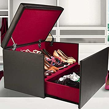 724b5b86cedf62 IDMarket - Coffre Rangement Banquette Luxe Noir spécial Chaussures ...
