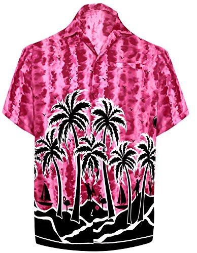 LA LEELA Men's Beach Shirt Casual Button Down Floral Printed Pink_W408 6XL