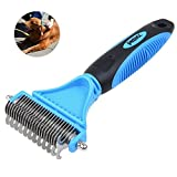Petacc Useful Pet Dematting Comb Multi-functional Pet Grooming Brush Practical Pet Grooming Tool with 2 Sided Undercoat Rake, Suitable for Dogs and Cats, Blue