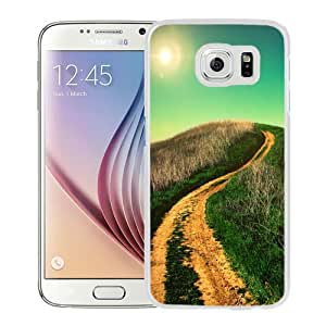 NEW Unique Custom Designed Samsung Galaxy S6 Phone Case With Winding Country Road Sun Shining_White Phone Case