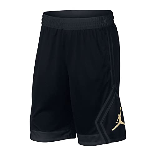 24fdbc5fc82 Nike Mens Jordan Rise Diamond Basketball Shorts Black/Gold 887438-014 Size  Small
