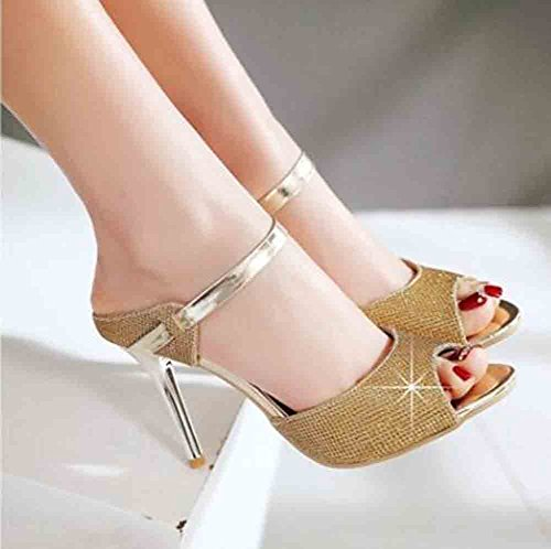 Easemax Womens Sexy Glitter Rhinestones Peep Toe Straps High Stiletto Heel Sandals Gold Vs1mv