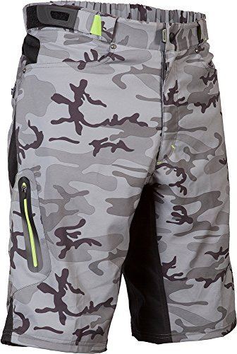 ZOIC Men's Ether Cycling Shorts, Grey Camo,