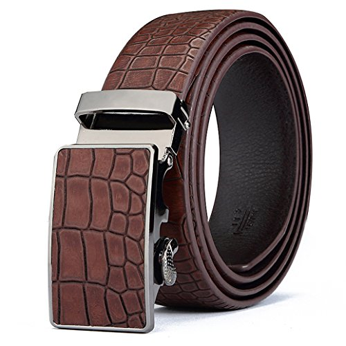Crocodile Belt (ITIEZY Men's Vintage Business Automatic Buckle Leather Belt with Crocodile)