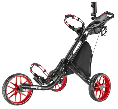 CaddyTek EZ-Fold 3 Wheel Golf Push Cart, Red