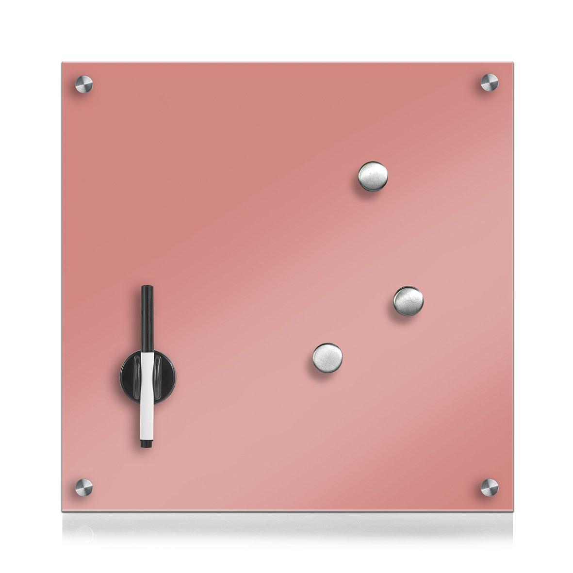 Zeller 11674Memo Board, Glass, Rose, 40x 40x 1cm
