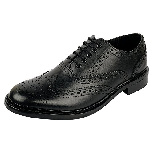 Black Italian Leather Wingtip - DLT Men's Genuine Imported Leather with Rubber Sole Goodyear Welted Oxford Dress Shoes 10.5 Black
