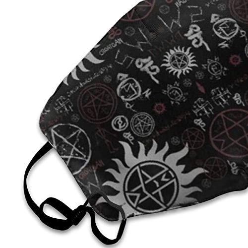 NOT Supernatural Symbols Black Personality Lovely Unisex Dust Mask, Suitable for Young Men and Women, Ski Bike Camping Windproof Motorcycle Face Mask
