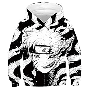 joo meryer Kids Girls Boys 3D Novelty Dragon Ball Printed Pocket Hooded Pullover Sweatshirts Hoodies