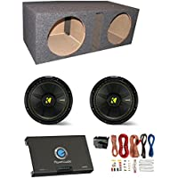 2) New Kicker 44CWCS104 10 1000W Car Subwoofers + Sub Box + Amplifier + Amp Kit
