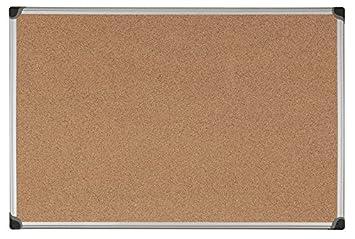 Bi-Office Maya W - Tablero de corcho con marco de aluminio, 90 x 60 cm