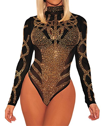 (Ussuperstar Women's Sheer Long Sleeve Faux Bustier Mesh Bodysuit Gold Rhinestone Clubwear (Black, L))