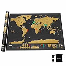 World Map, Interactive Travel Scratch Map Black and Gold Deluxe Edition by Shellbay, Bright Colors Premium Artwork Poster for Home Decor, Large 32.5 x 23.6 Inches