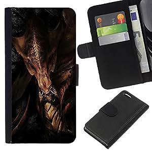 LECELL--Cuero de la tarjeta la carpeta del tirón Smartphone Slots Protección Holder For Apple Iphone 5C -- Dragón agresivo --