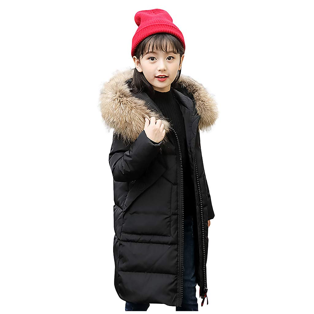 WOCACHI Girls Down Parka, Kids Girls Winter Faux Fur Hooded Parka Down Coat Puffer Jacket Padded Overcoat 2019 Autumn Winter Fall Under 5 Dollars Under 10 or Less New Deals Sale by WOCACHI