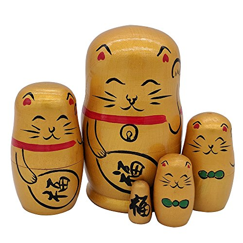 Set of 5 Golden Lucky Cat Handmade Wooden Traditional Russian Matryoshka Nesting Dolls with Japanese Chinese Character Fu for Home Decoration Kids Toy Birthday Christmas (Japanese Toy Dolls)