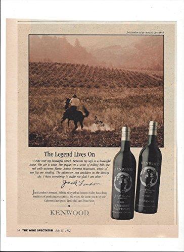 --Magazine PRINT AD-- For Kenwood Cabernet Wines Jack London Quote --PRINT (Jack London Cabernet)