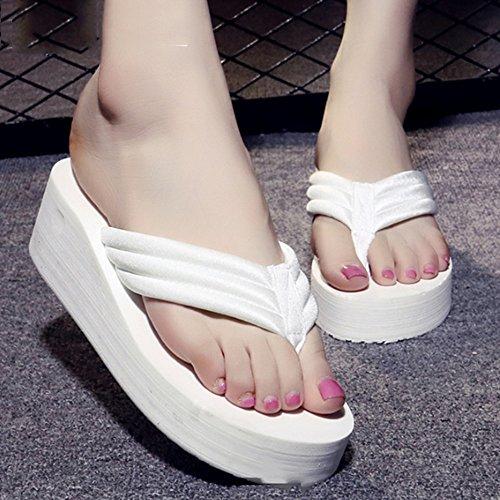 del con Los los las Los Pendiente talones los manera deslizadores estudiantes femenino verano deslizadores los zapatos playa Cómodo de la gruesa de con la simples altos la sandalias play C sueltan de de qExS8aaUn