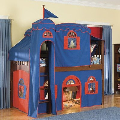 Mission Twin Low Loft Bed with Castle Tent and Built-In Ladder Configuration: Low Loft Bed with Castle Tent