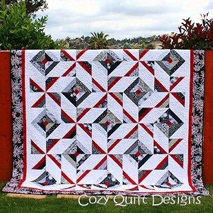 Strip Quilt Designs - Pattern,Quilt,Cross Breeze, multi sizes, by Cozy Quilt Designs, 2 1/2