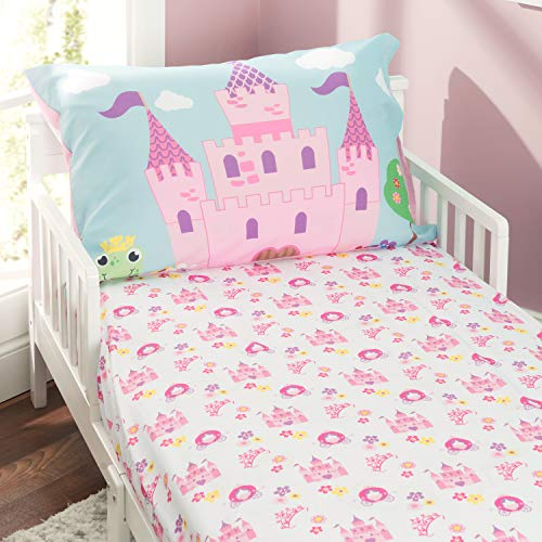 - EVERYDAY KIDS Toddler Fitted Sheet and Pillowcase Set -Princess Storyland- Soft Microfiber, Breathable and Hypoallergenic Toddler Sheet Set