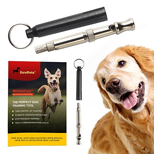 forepets Professional Dog Whistle to Stop Barking | with Proven Training Guide | Best Anti Loss Version | Free Lanyard | 100% | Black (Silent Dog Training Whistle)