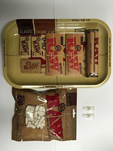Raw Rolling Tray + Raw 110mm Roller + Raw King Size Rolling Papers + Hydrostone Natural Terracotta Humidifying Stone + Rolling Tips +200pc Unrefined Cotton Cigarette Filter, Large bundle.