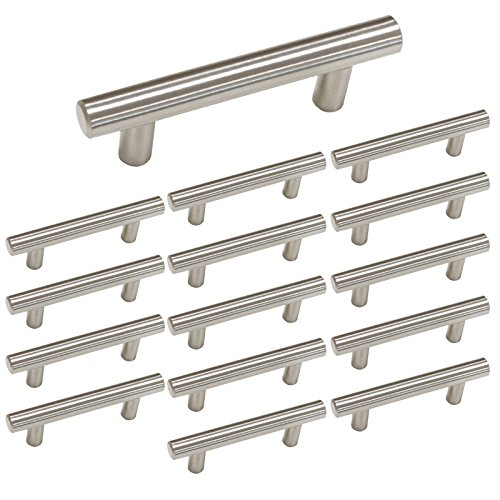 3 inch T Bar Kitchen Cabinet Handles Brushed Nickel - Homdiy HD201 Stainless Steel Drawer Handles Wine Cabinet Hardware Cupboard Desk Furniture Drawer Dresser - Brushed Nickel Link
