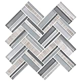 HYH 8mm Thickness Glass/Stone Blend Strip Mesh-mounted Mosaic Tile Sheet for Kitchen Backsplash Bathroom Wall and Swimming Pool 12.4 In. X 13.8 In.(8NF0606-004)Lot of 5 Sheets