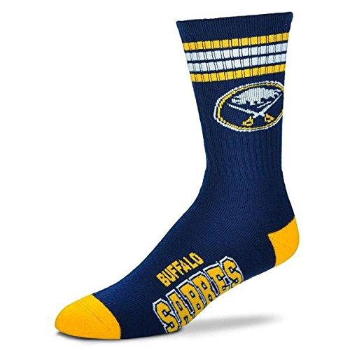 For Bare Feet NHL 4 Stripe Deuce Crew Men Socks-Buffalo Sabres-Large ()