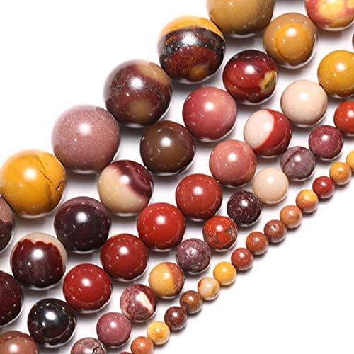 NOLOGO Gxbld-yy Piedra Natural al por Mayor los Granos Flojos de la yema de Huevo Mookaite Collar de la Pulsera 4 6 8 10 12 MM Apta DIY for la joyería (Color : Egg Yolk, Talla : 4mm About 91pcs)