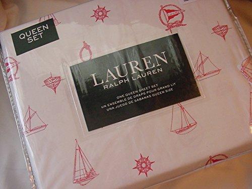 Ralph Lauren Red Sailboats Nautical on White Sheet Set Queen - New Ralph Lauren Sheet