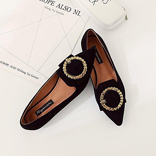Xue Qiqi Einzelne Schuhe Frauen mit Flach und mit Frauen der Spitze Licht Speichel Bohren Flache Schuhe mit Niedrigen Fuß Frauen Schuhe Schwarz 6078e2