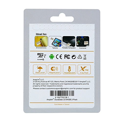 2X 64GB Micro SDXC U3 Card Plus SD Adapter Pack. Amplim Pro Extreme Class 10 UHS-I MicroSDXC 95MB/s Read, 90MB/s Write. Ultra High Speed HD UHD 4K Video. Internal/External MicroSD Flash Memory Storage