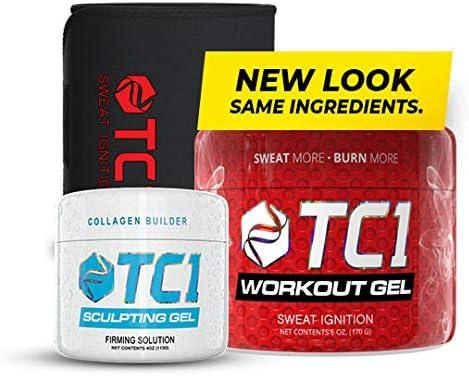 TC1 Waist Belt Bundle with TC1 Sculpt and TC1 Advanced Topical Sweat Workout Enhancer with Capsaicin 1