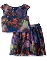 Pippa & Julie Girls' Blurred Floral Skirt Set