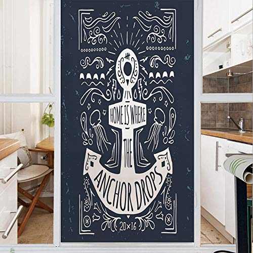 Decorative Window Film,No Glue Frosted Privacy Film,Stained Glass Door Film,Hand Drawn Hipster Label with an Anchor and Lettering on Grunge Background Decorative,for Home & Office,23.6In. by 47.2In -